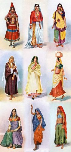 Gagra choli is the traditional clothing of women in Rajasthan, Gujarat, Madhya Pradesh, Uttar Pradesh, Bihar, Haryana, Himachal and Uttarakhand. The choli is cut to fit tightly to the body and has short sleeves and a low neck. The choli is usually cropped, allowing exposure of the navel; the cropped design is particularly well-suited for wear in the summers. Ghagra is a form of skirt which is long, embroidered and pleated.It is secured at the waist and leaves the lower back and midriff bare