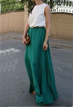 Color-block With Belt Floaty Chiffon Teal Maxi Dress -SheIn(Sheinside) Mobile Site Maxi Skirt Outfits, Cheap Maxi Dresses, White Maxi Dresses, Summer Dresses, Maxi Skirt Winter, Winter Skirt Outfit, Maxi Styles, Maxi Robes, Chiffon Maxi Dress