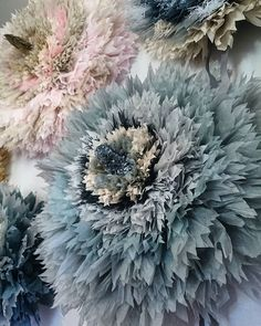 Good Morning All💙😄 Made a new blue one ✂ 😉 Tissue Paper Crafts, Tissue Paper Flowers, Paper Flower Backdrop, Giant Paper Flowers, Diy Flowers, Fabric Flowers, Artificial Flowers And Plants, Vintage Crafts, New Blue