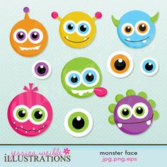 Monster Face Cute Digital Clipart for Card Design, Scrapbooking, and Web Design from JW Illustrations Monster Birthday Parties, Monster Party, Preschool Crafts, Crafts For Kids, Monster Clipart, Monster Crafts, Fall Art Projects, Monster Face, Cute Clipart