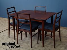 Midcentury dining table and chairs designed by Richard Hornby in the Crafted from solid afrormosia. Vintage Furniture Design, Dining Table Chairs, Mid Century Furniture, Chair Design, Retro Vintage, Home Decor, Decoration Home, Room Decor, Dining Chairs