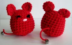 Christmas Stocking Stuffer Gifts for the Kitty Cat:  Red Crochet Mouse Toy Filled with Premium Catnip (set of 2) by Crochet Cluster @ Etsy