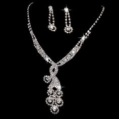 8-style-Crystal-Tennis-Necklace-Earring-Set-Silver-Bridal-Bridesmaid-Jewelry-Set