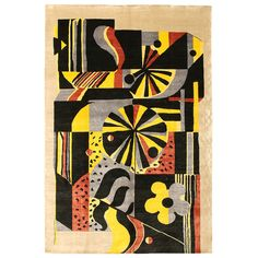 Deco Silk Chinese Rug  China  Early 20th Century  This Art Deco rug from China features bold geometric and abstract motifs rendered in a flamboyant combination of yellow, red and black set over an ecru field