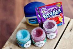 Teen DIY LIP GLOSS: Materials Needed: Kool-Aid pkts, Vaseline, Container for lip gloss storage (small empty spice container, or any small jar will work). Directions: Put a cup of Vaseline into a small microwavable bowl.  Heat until easy to stir, about 30 seconds. Be careful not to let it turn into liquid. (The Vaseline in the very bottom may liquefy, but the key is to just get it warm enough to stir.)  Sprinkle Kool-Aid into Vaseline and stir.  Transfer to container.