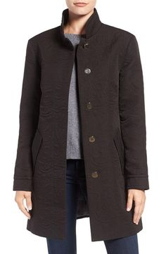 Free shipping and returns on Eliza J Water Repellent Floral Jacquard Topper at Nordstrom.com. A practical water-repellent coat flaunts a more dolled-up look cut from floral-patterned jacquard in a fitted A-line silhouette. Gleaming logo hardware completes the polished style.