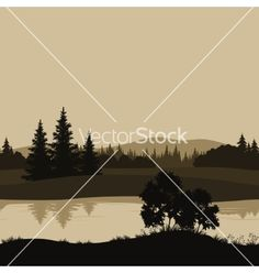 Seamless landscape trees river and mountains vector 2212520 - by oksanaok on VectorStock®