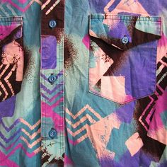 80s Geometric botton up collar shirt pink black teal purple