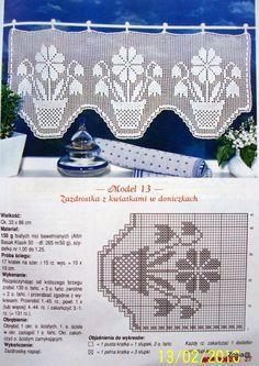 filet curtain by celeste Filet Crochet Charts, Crochet Motifs, Crochet Borders, Crochet Cross, Thread Crochet, Crochet Doilies, Crochet Patterns, Crochet Curtain Pattern, Crochet Curtains