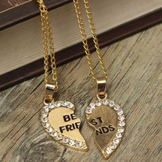 Rhinestone Broken Heart Double Parts Best Friend Pendant Necklaces at Banggood