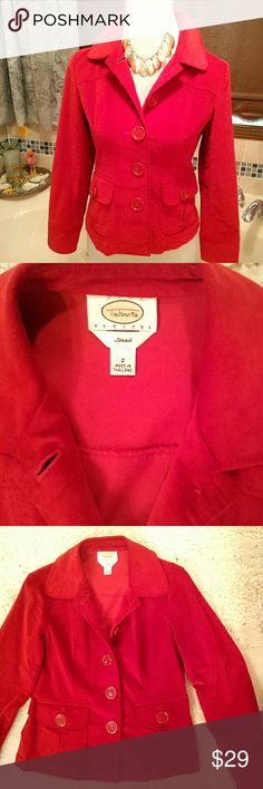 """Talbots red velour jacket Christmas walking! beautiful red color; soft cotton velour with 2% spandex for stretch; unlined; 2 pockets in front; Talbots brand; size 2P; bust 17""""; waist 15.5""""; shoulder to hem 21""""    great condition    (H-1) Talbots Jackets & Coats Blazers"""