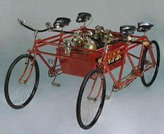 Used by the New Farm Volunteer Fire Brigade, this red, four-wheeled vehicle was built in 1912 by Howards Ltd. The Fire Brigade quadricycle carried a box for fire fighting equipment and an attachment for towing a hand reel hose cart. The New Farm Volunteer Fire Brigade was established in 1889 in Moray Street. Originally equipped with just two hand-drawn hose reels, the Brigade eventually built a tall lookout tower and station, complete with a loud bell to rouse their members in event of a…
