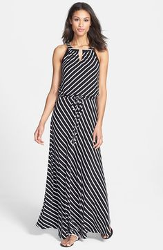 Calvin Klein Stripe Keyhole Detail Maxi Dress available at #Nordstrom