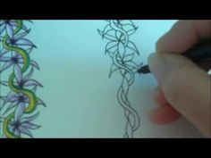 ▶ How to draw tanglepattern Flower Vine