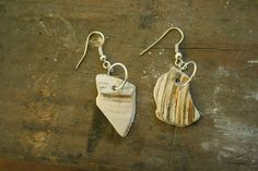 Jewelry made from shell fragments found on Delaware Seashore Beach #shell #jewelry #earrings #DIY