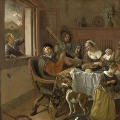 """The Merry Family"" by Jan Havicksz. Steen, 1668. Oil on canvas, h 110.5 cm × w 141 cm."