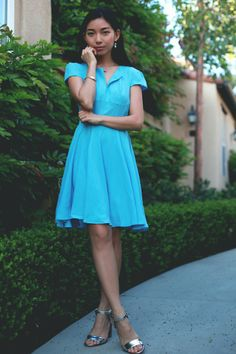 honey & silk: Coach x SheFinds. love the color blue and the sandals