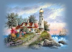 Lighthouse on the Hill | Artist: Thomas Kinkade