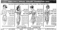 New York Times, 25 Dec Saks Fifth Avenue lingerie department ad. Zip Bra, Famous Brands, Saks Fifth Avenue, Vintage Advertisements, Lingerie, York, Times, Underwear, Corsets