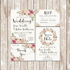 La decoración de una boda romántica en blush tiene que ser precedida de sendas invitaciones. Invitaciones de boda rústicas con flores en watercolor imprimibles.