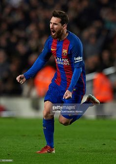 Lionel Messi of Barcelona celebrates scoring his team's third goal during the Copa del Rey Round of 16 Second Leg match between FC Barcelona and Athletic Club at Camp Nou on January 11, 2017 in Barcelona, Spain.