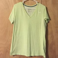 Nike Cotton DryFit Tee: Pale Green Cotton DryFit Material.  Gently worn. Still in great condition. No majors signs of wear such as stains or rips or holes in the fabric.  Size XL Nike Tops Tees - Short Sleeve