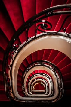 Red & White Spiral Stairs