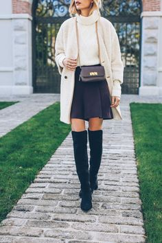 Over the knee boots are the perfect match to cropped culottes. Via Jess Ann…