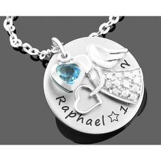 Eine schöne Namenskette komplett aus 925 Sterling Silber mit einem Engel als Anhänger und einem Herz Kristall in Ihrer Wunschfarbe.
