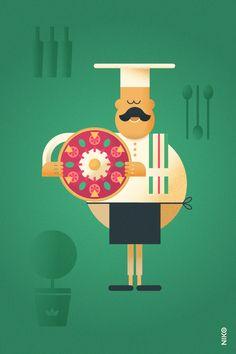 NIKO – Illustrateur › Le Pizzaiolo