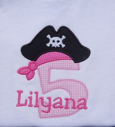 Girls' Birthday Pirate T Shirt or Bodysuit by TheSassySquirrel, $17.99