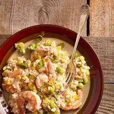 Quick Risotto with Shrimp, Corn & Edamame Recipe