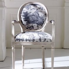 ROMANTIC BY NATURE: The Toile De Jouy was a classic pattern used in British and French interiors around the mid The intricate details, artistic craftsmanship and signature look has seen a great come back. We just love it on the Toile De Jouy Chair by French Furniture, Painted Furniture, Home Furniture, Furniture Design, Chair Design, French Decor, French Country Decorating, Country French, Cross Country