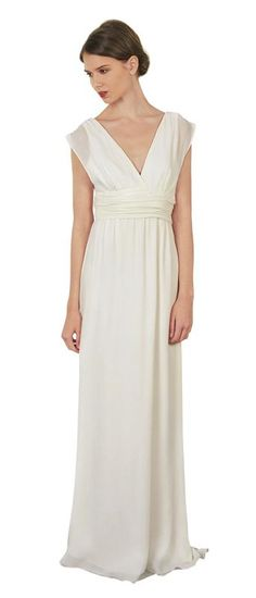 Charming white deep V-neck gown in layered chiffon | Thread