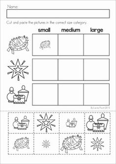 Christmas Nativity Preschool Math and Literacy No Prep worksheets and activities. A page from the unit: order by size cut and paste