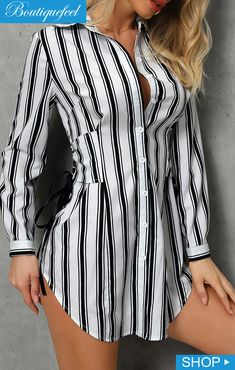 Striped Lace-Up Design Shirt Dress Source by ivrosegeeko Dresses Shirtdress Outfit, Dress Shirts For Women, Clothes For Women, Casual Dresses, Fashion Dresses, Professional Attire, Mode Inspiration, Trendy Fashion, Trendy Style