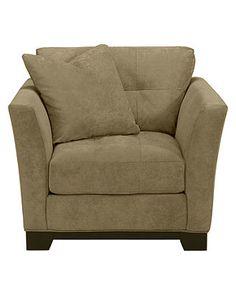 "Elliot Fabric Microfiber Living Room Chair, 42""W x 37""D x 29""H - furniture - Macy's"