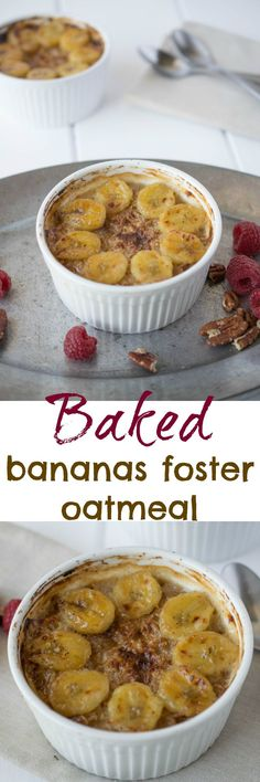 Baked bananas foster oatmeal. A warm and comforting breakfast with cinnamon, vanilla and brown sugar that is like eating dessert for breakfast that is inspired by a classic dessert.