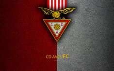 Download wallpapers CD Aves FC, 4K, leather texture, Liga NOS, Primeira Liga, emblem, Aves logo, Vila-daz-Avish, Portugal, football, Portuguese Football Championships
