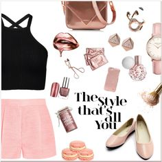 ⚜Metalic Rose⚜ by romidawsonaguila on Polyvore featuring STELLA McCARTNEY, Alexander Wang, Topshop, FOSSIL, Tory Burch, Charlotte Tilbury, Major Moonshine and Happy Plugs