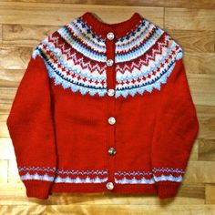 Handmade Hand Knit Vintage Norwegian Cardigan Sweater, Jumper Child's Sweater, Fair Isle, For Children, Boy's, Girl's, Wool, red, Christmas