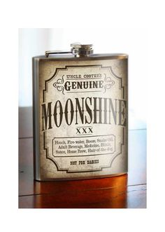 Moonshine Flask - 8oz. - Stainless Steel by trixieandmilo on Etsy https://www.etsy.com/listing/87992577/moonshine-flask-8oz-stainless-steel