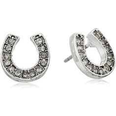 """Betsey Johnson """"Fox Trot"""" Pave Horse Shoe Stud Earrings ($25) ❤ liked on Polyvore featuring jewelry, earrings, fox earrings, horse jewellery, silver tone earrings, fox jewelry and betsey johnson earrings"""