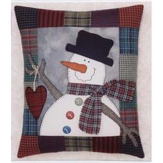 This sweet frosty fellow is offering his simple gift of love. The x pillow, featuring easy patchwork and applique, will be a special addition to any snowman collection. Designed by Mary Kerr Christmas Sewing, Christmas Crafts, Xmas, Quilting Projects, Sewing Projects, Fabric Crafts, Sewing Crafts, Snowman Quilt, Christmas Cushions