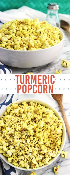 Turmeric popcorn with garlic and dill takes just minutes to make on the stovetop. Cooking stovetop popcorn with coconut oil yields light and fluffy popcorn that isn't greasy at all. This healthy snack is colored naturally with ground turmeric!