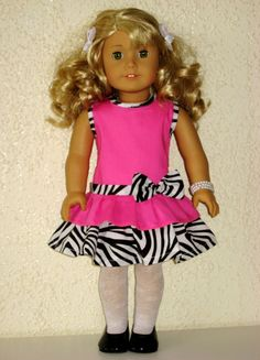 """Add it to your favorites to revisit it later.       Adorable Hot Pink and Animal Print Dress fits American Girl or other 18"""" dolls on etsy"""