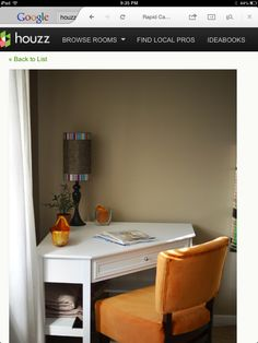 Small office space. Love this corner desk!