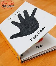 Make a sensory book using your child's hand print for your five senses unit. Visit the Our Time to Learn blog for this and more activities for preschool, kindergarten, and home school science.