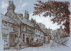 Blandford Forum, Dorset, pen and ink, drawing Rob Adams, Big Ben, Scene, Drawings, Illustration, Travel, Painting, Art, Ink