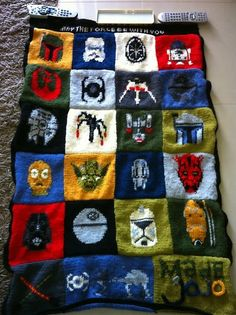 Knitted Star Wars baby blanket! Seriously thinking of making this.....MUST FIND A WAY TO CROCHET THIS!!!!!!!